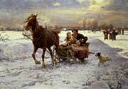 Laughing; Snow; Winter; Landscape Framed Prints - Lovers in a sleigh Framed Print by Alfred von Wierusz Kowalski