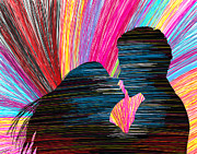 Kenal Louis Digital Art Prints - Lovers In Colour No.1 Print by Kenal Louis