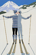 Skiing Poster Framed Prints - Lovers in the Snow Framed Print by Georges Barbier