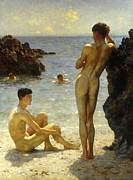 Sat Painting Framed Prints - Lovers of the Sun Framed Print by Henry Scott Tuke