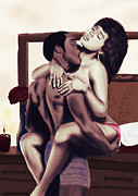Kenal Louis Posters - Lovers Sensual Love Poster by Kenal Louis