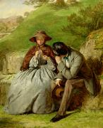 Girlfriend Painting Prints - Lovers Print by William Powell Frith
