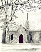 Church Drawings Originals - Loves Gift by Robin Capecci