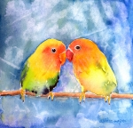 Watercolors Painting Posters - Lovey Dovey Lovebirds Poster by Arline Wagner