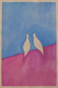Doves Paintings - Lovey-Dovey by Ramey Guerra