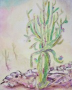 Cactus Shapes Prints - Loving Cactus Print by Suzanne  Marie Leclair