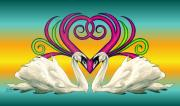 Swan Drawings Prints - Loving Souls Print by Sheryl Unwin