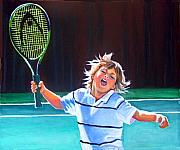 Racket Painting Framed Prints - Loving Tennis Lessons Framed Print by Gail Zavala