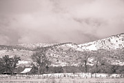 Rocky Mountain Prints Prints - Low Clouds on The Colorado Rocky Mountain Foothills 3 BW Print by James Bo Insogna