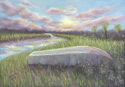 Botany Pastels Posters - Low Country Dawn at Botany Bay Poster by Pamela Poole