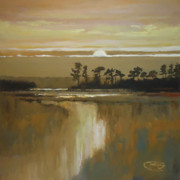 South Carolina Low Country Marsh Paintings - Low Country Moon Rise by Kip Decker