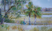 Live Oak Trees Paintings - Low Country by P Anthony Visco