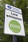 Carbon Dioxide Metal Prints - Low Emission Zone Sign In Essex, Uk. Metal Print by Mark Williamson