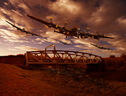 Digital Pyrography Posters - Low Flying over Rawcliffe Bridge Poster by Nigel Hatton