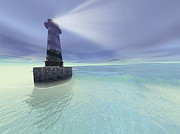 Dream Bay Prints - Low Fog Settles Down On A Lighthouse Print by Corey Ford