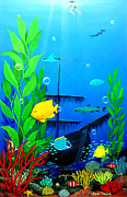 Treasure Painting Posters - Low Maintenance Aquarium Poster by Snake Jagger