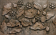 Relief Sculpture Reliefs Framed Prints - Low relief cement Thai style  Framed Print by Phalakon Jaisangat