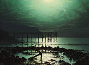 Moonlit Night Painting Posters - Low Tide by Moonlight Poster by WHJ Boot