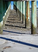 Wood Pylons Photos - Low Tide Fishing Pier by Judy Hall-Folde