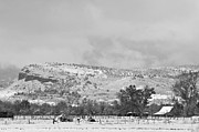 Rocky Mountain Prints Prints - Low Winter Storm Clouds Colorado Rocky Mountain Foothills 7 BW Print by James Bo Insogna