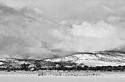 Rocky Mountain Prints Prints - Low Winter Storm Clouds Colorado Rocky Mountain Foothills BW Print by James Bo Insogna