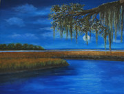 Marsh Scene Paintings - Lowcountry Moon by Stanton Allaben