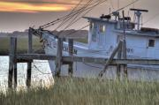 South Carolina Digital Art Originals - Lowcountry Shrimp Boat Sunset by Dustin K Ryan