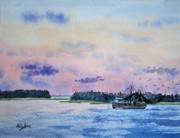 South Carolina Low Country Marsh Paintings - Lowcountry Shrimper by Stanton Allaben