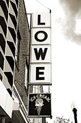 Electric Signs Posters - Lowe Drug Store Sign BW Poster by Andee Photography