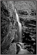 Southern Illinois Framed Prints - Lower Burden Falls in B  W Framed Print by Donna Caplinger