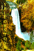 Montana Digital Art - Lower Falls of the Yellowstone by David Lee Thompson