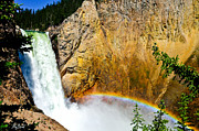 Signed Photo Framed Prints - Lower Falls Rainbow LE Framed Print by Greg Norrell