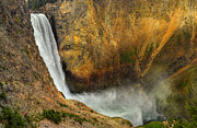 The Grand Canyon Of The Yellowstone Framed Prints - Lower Falls Yellowstone National Park Framed Print by Ken Smith