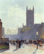 Crowd Scene Paintings - Lower Fifth Avenue by Childe Hassam