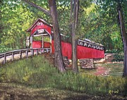 Covered Paintings - Lower Humbert Covered Bridge  by Reb Frost