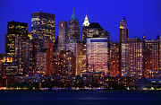 New York City Skyline Framed Prints - Lower Manhattan Framed Print by Rick Berk