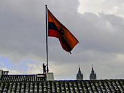 Rooftop Framed Prints - Lowering The Flag In Quito Framed Print by Al Bourassa