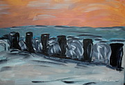 Lowestoft Paintings - Lowestoft Beach at Sunset by Diane Carsey