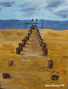Lowestoft Paintings - Lowestoft Beach by Diane Carsey