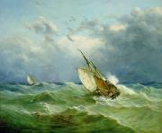 Rocky Painting Prints - Lowestoft Trawler in Rough Weather Print by John Moore
