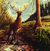 Briton Paintings - Lowland Stag by Graham Keith