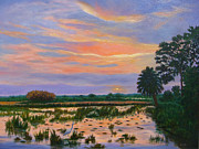 Snowy Trees Paintings - Loxahatchee Sunset by Karen Zuk Rosenblatt