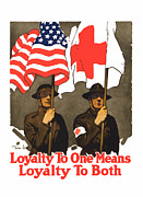 American Flag Digital Art Prints - Loyalty To One Means Loyalty To Both Print by War Is Hell Store