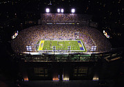 Night Game Framed Prints - LSU Aerial View of Tiger Stadium Framed Print by Louisiana State University