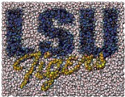 Ncaa Prints - LSU Bottle Cap Mosaic Print by Paul Van Scott