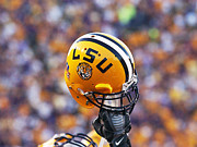 Ncaa Posters - LSU Helmet Raised High Poster by Louisiana State University