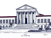 College Buildings Drawings Mixed Media Originals - LSU Old Law Building by Frederic Kohli