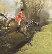 Ditch Framed Prints - Lt Col Ted Lyon Jumping a Hedge Framed Print by Cecil Charles Windsor Aldin