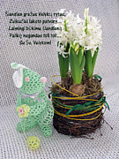 Handmade Book Art - LT Easter Greeting. Bunny. Lithuanian text by Ausra Paulauskaite