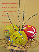 Papier Mache Posters - LT Easter Greeting. Lithuanian text 01 Poster by Ausra Paulauskaite